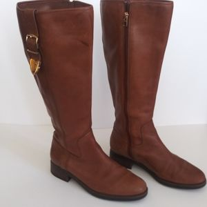 "Coach ""easton extended"" leather riding/moto boot"